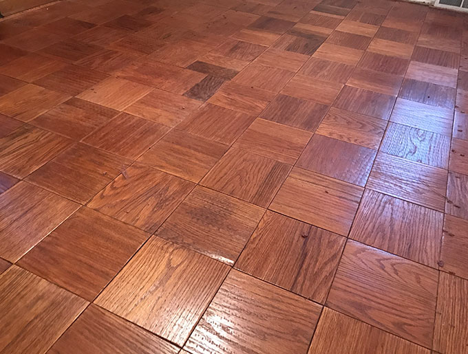 "Is this flooring out of date? Does it need to be replaced? Costly, it can be! If it complements the overall vision of the "" Look"" we are going after, then stain or paint is my answer! When in good condition and real ""wood"" gem, why not consider a less expensive and WOW look!"